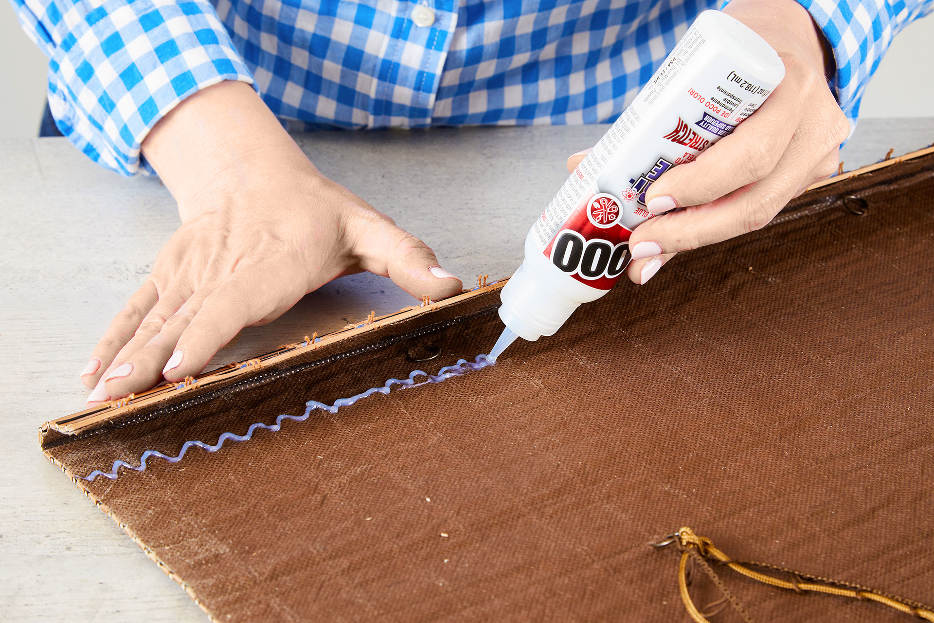 add glue to bottom of blinds for faux hem