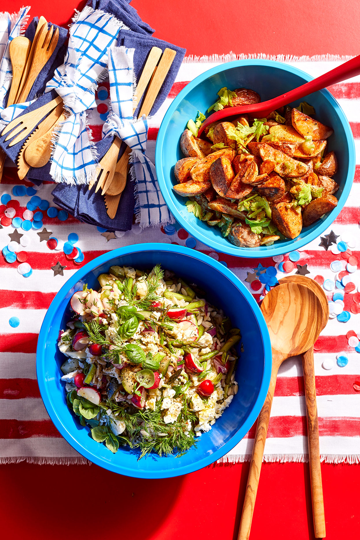 summer salad and potatoes on patriotic table