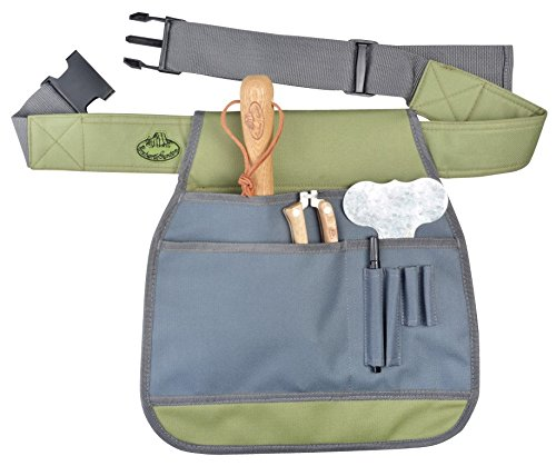 Gray and green canvas garden tool belt apron with handheld tools inside pockets