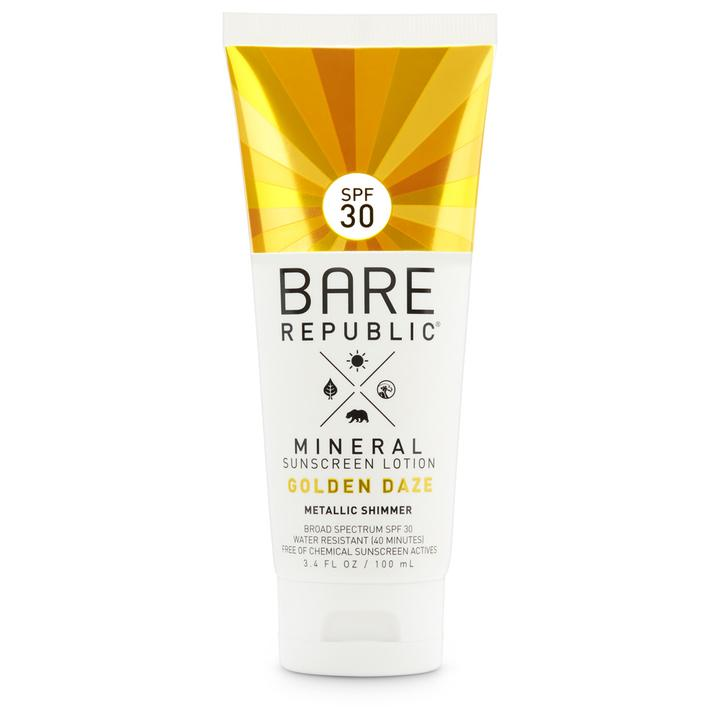 bare mineral sunscreen, gold and white tube