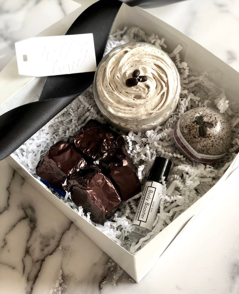 gift box with coffee flavored spa supplies