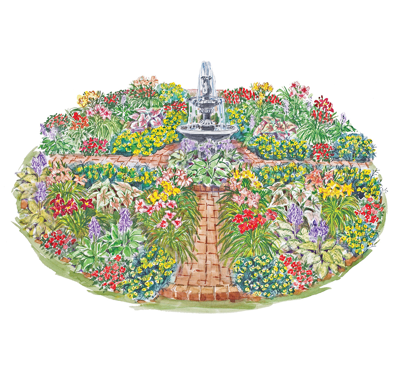 flower garden fountain illustration