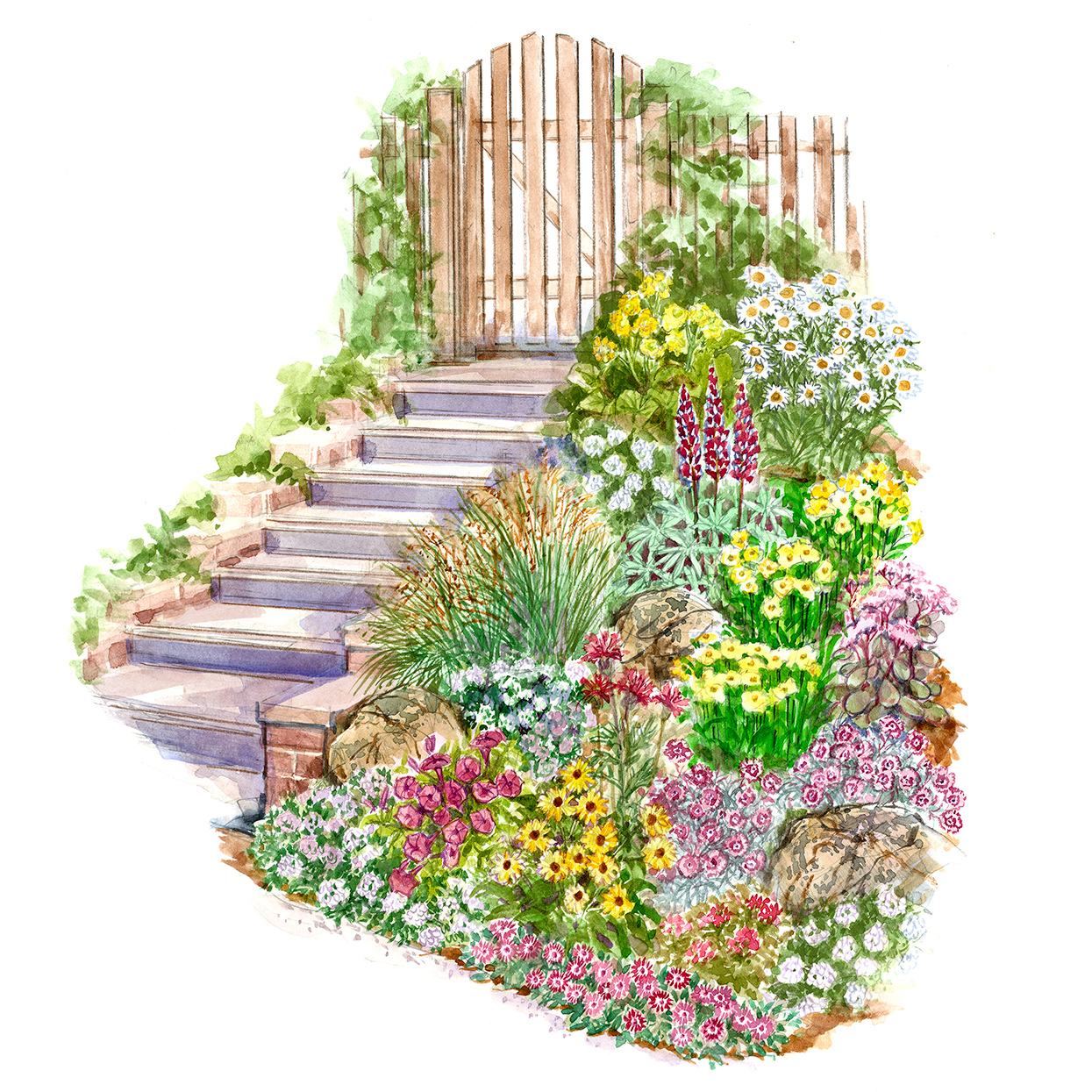 easy slope garden plan illustration