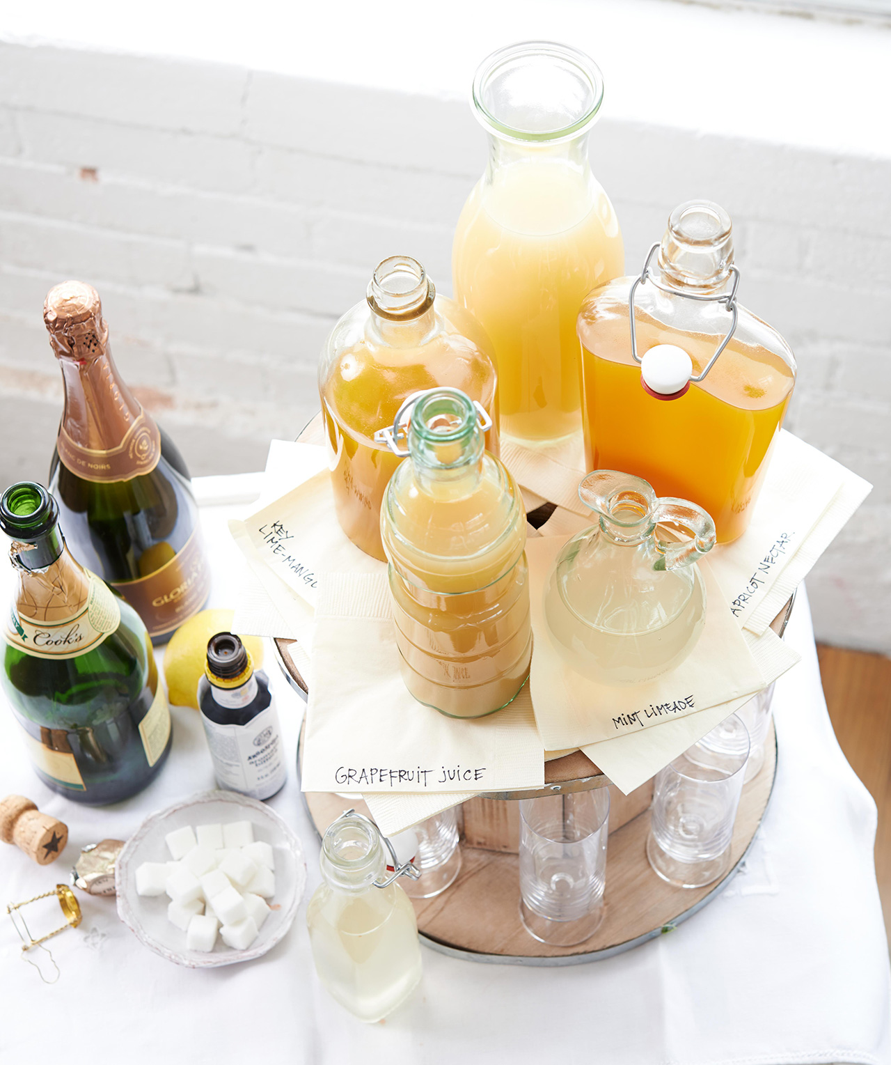 cocktail platter with citrus drinks