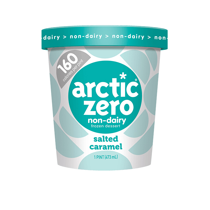 Pint of Salted Caramel Artic Zero ice cream on white background