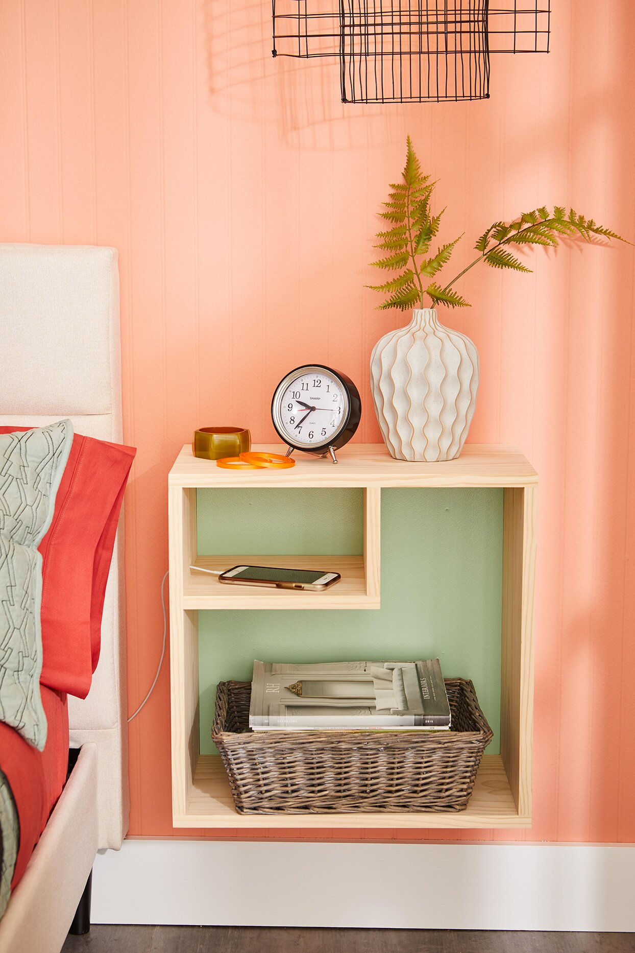 nightstand wall-mount shelf with phone charger hole