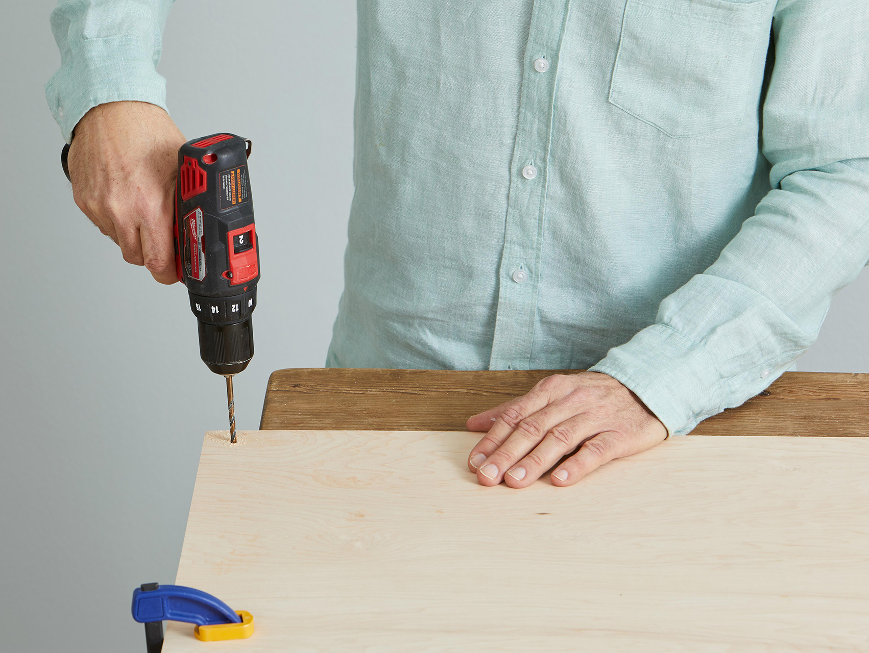 drilling corner hole for plywood wall