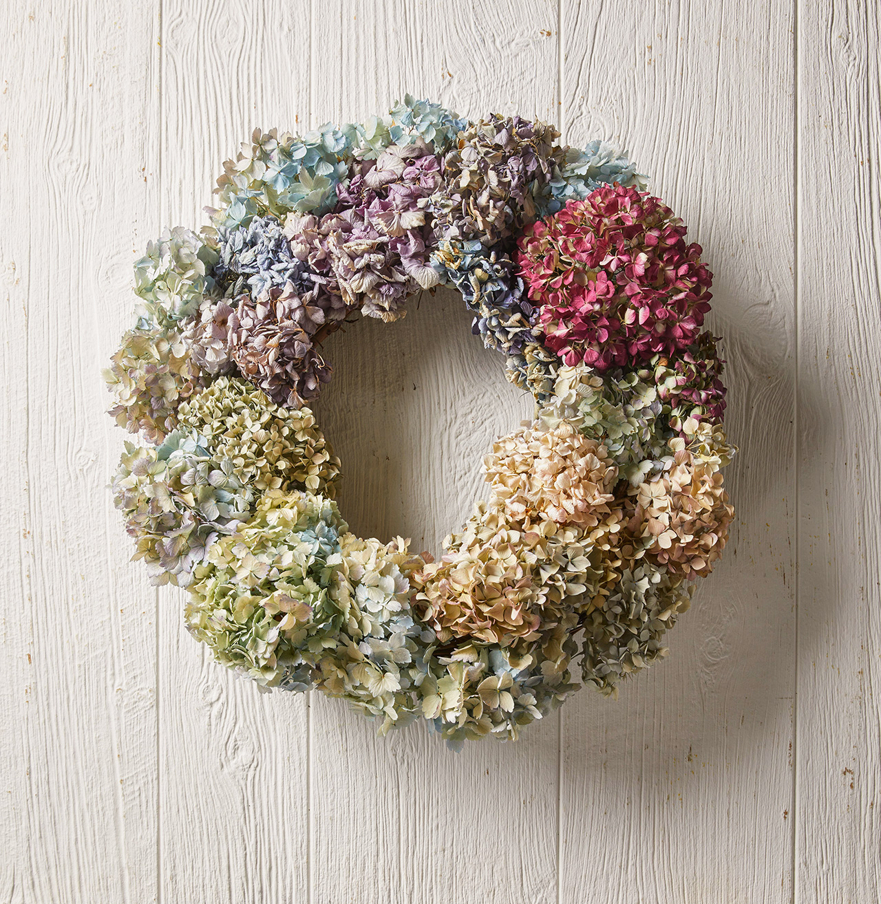 wreath made from hydrangea clusters