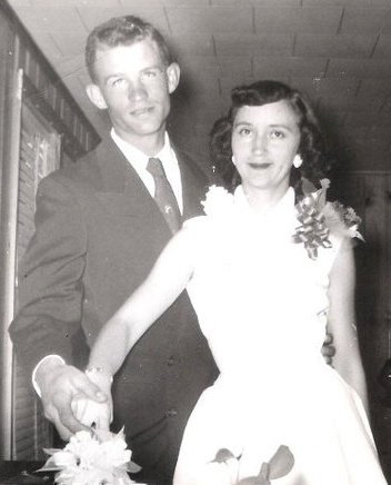 Charlie and Carol Rutledge in 1955 in black and white