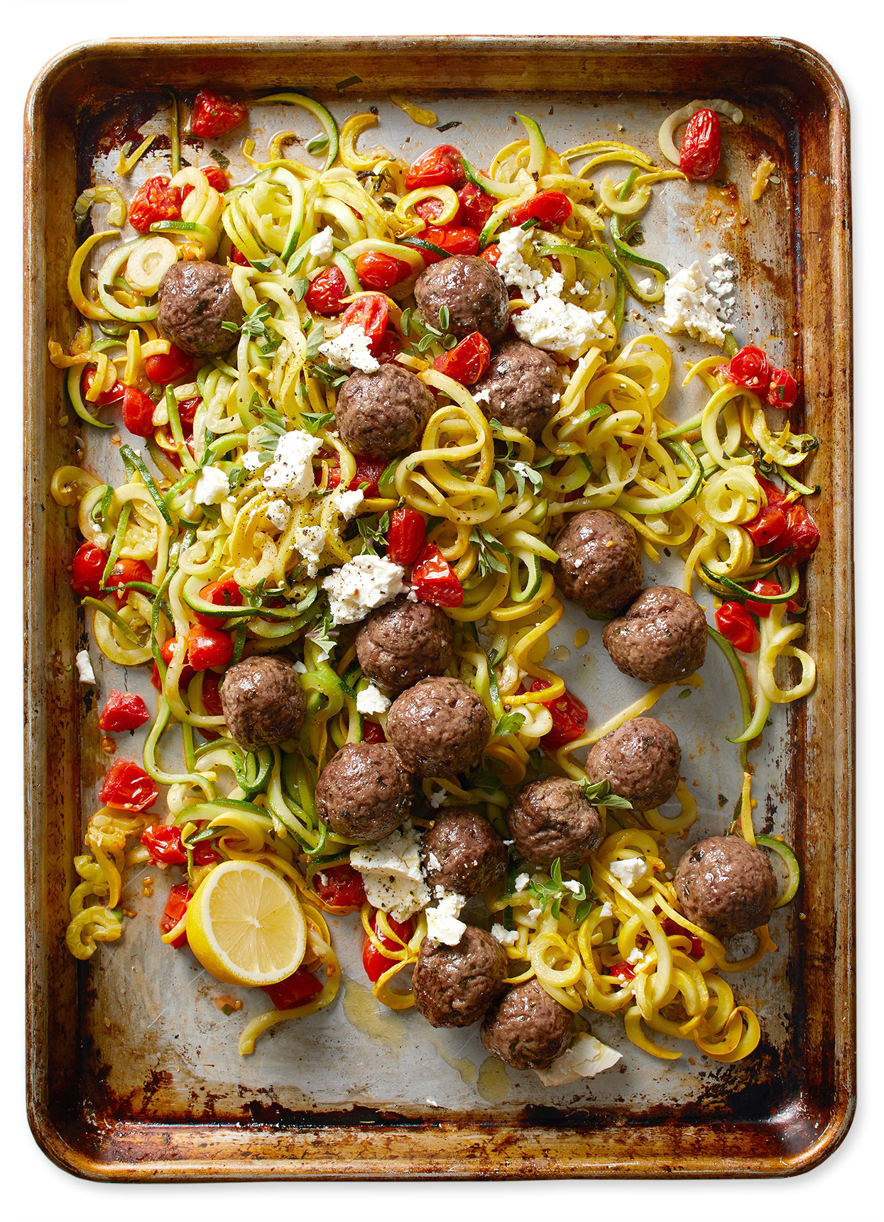 "Greek Meatballs with Summer Squash ""Noodles"" and Tomatoes"
