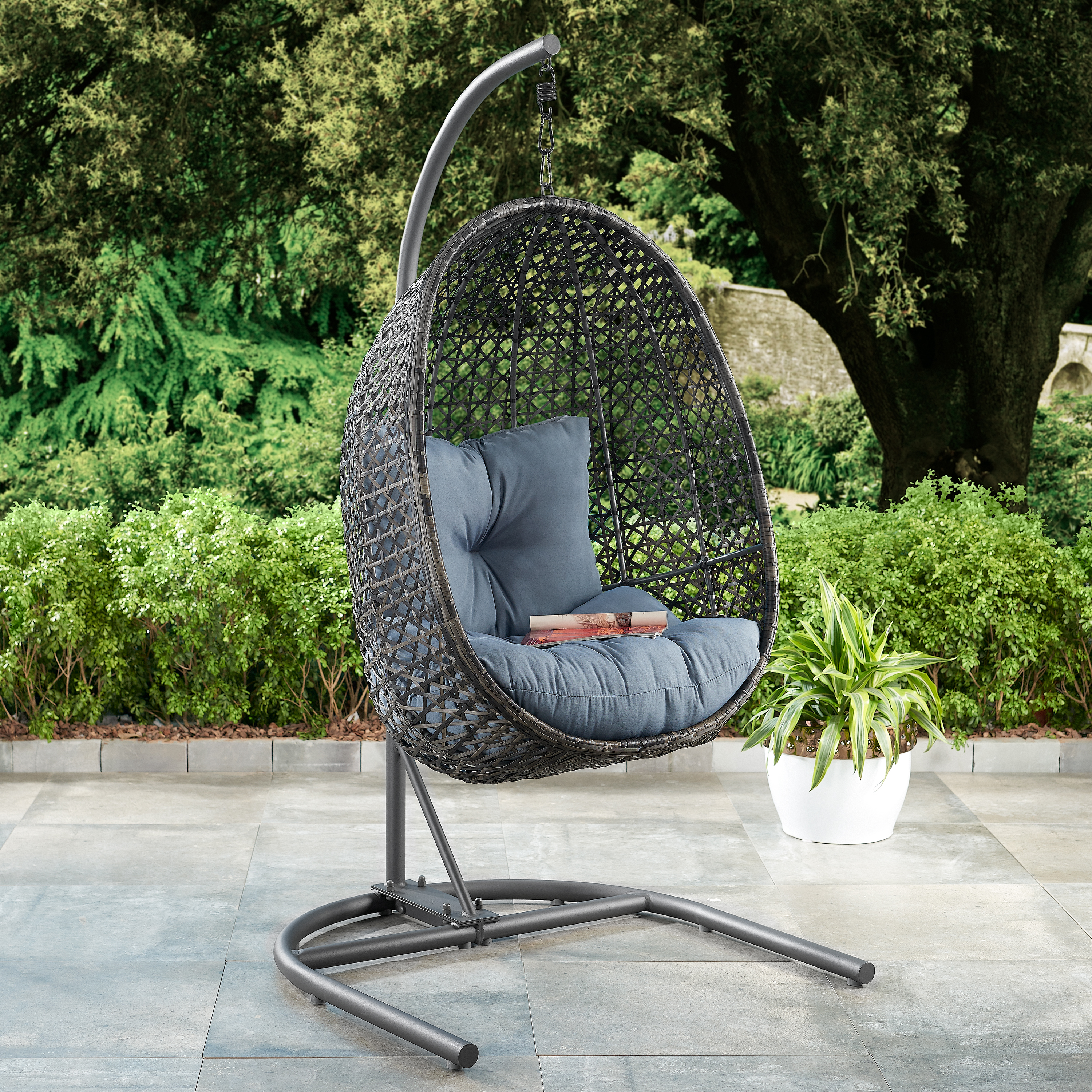 hanging egg chair on patio