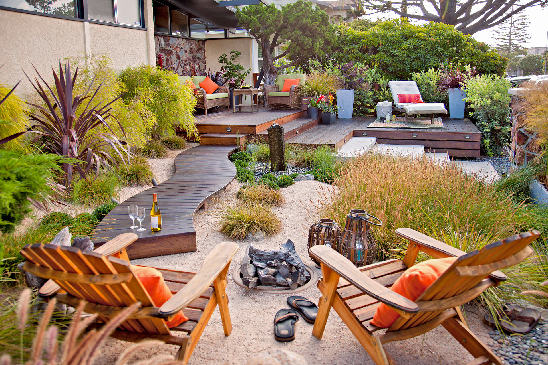 fire pit area view of layered deck landscaping