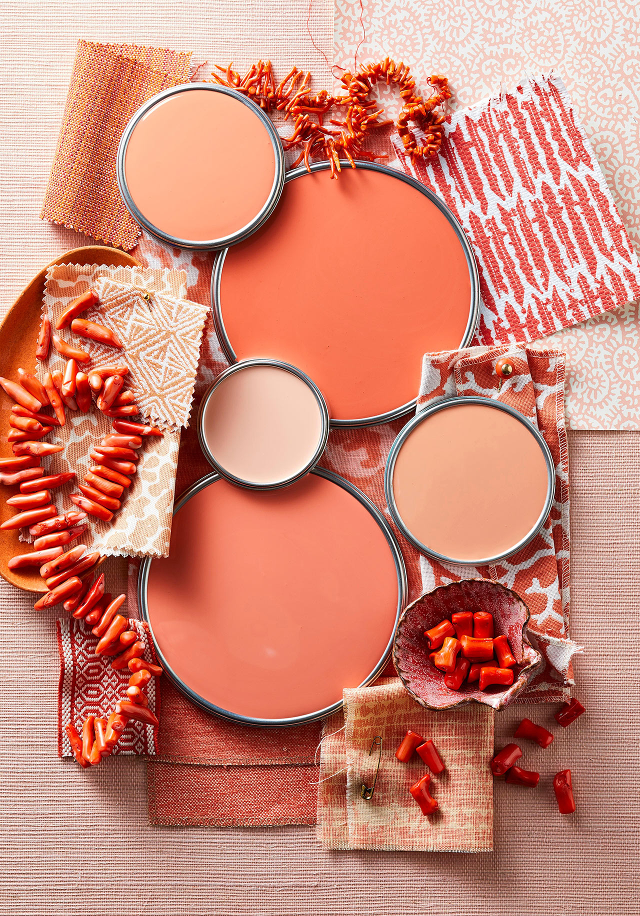 coral paint lids with fabric beads and ceramic