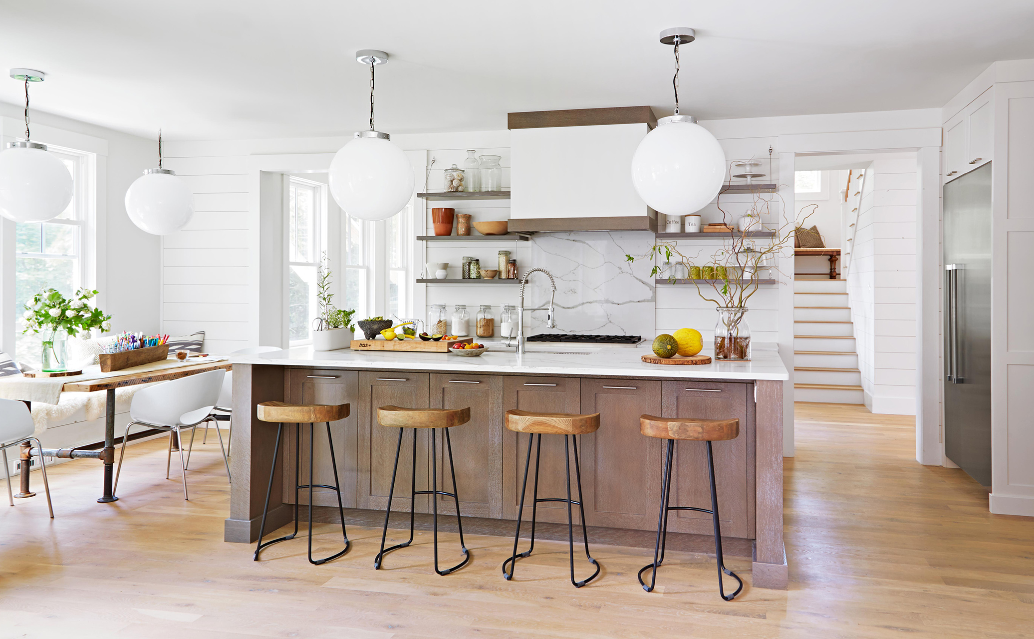 arcese modern farmhouse kitchen and dining area