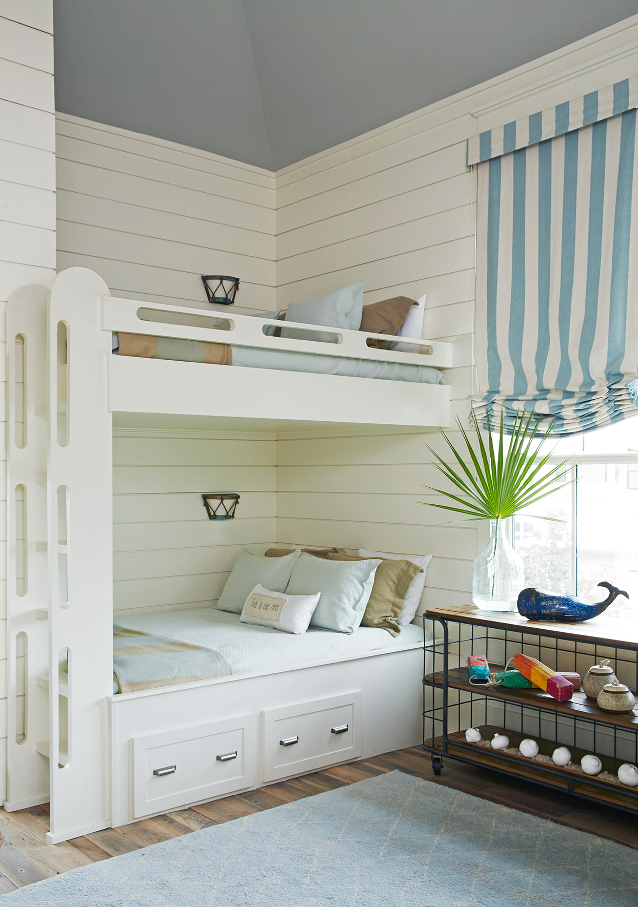 white and blue bedroom bunk bed