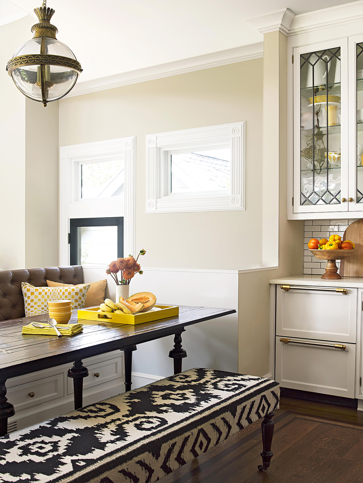banquette and upholstered black and white graphic bench