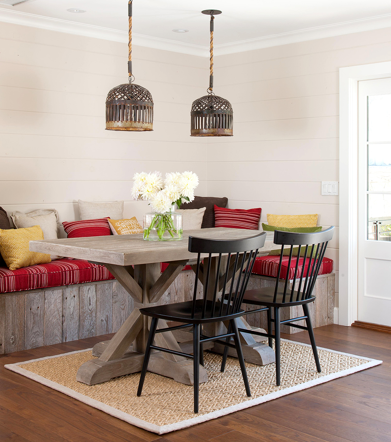 red and yellow accented banquette corner