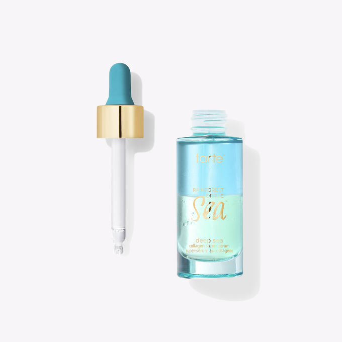 face serum in blue and green bottle