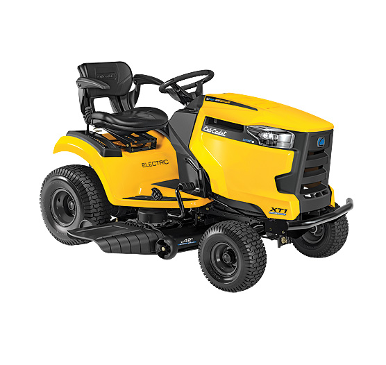 Yellow and black electric riding lawn mower from Cub Cadet