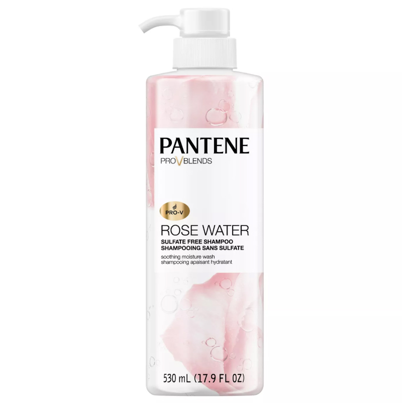 rose water shampoo, pink bottle with pump