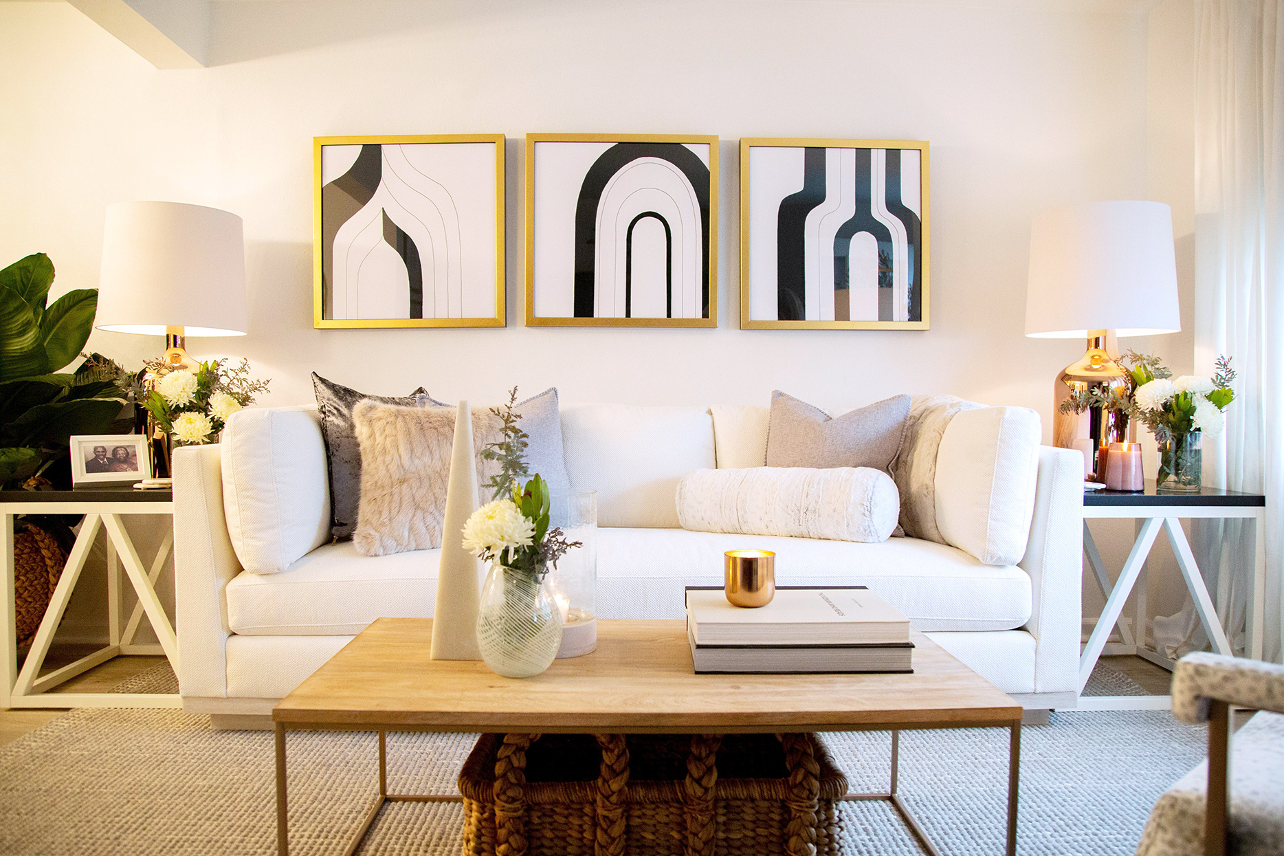 clean modern sitting area with abstract art