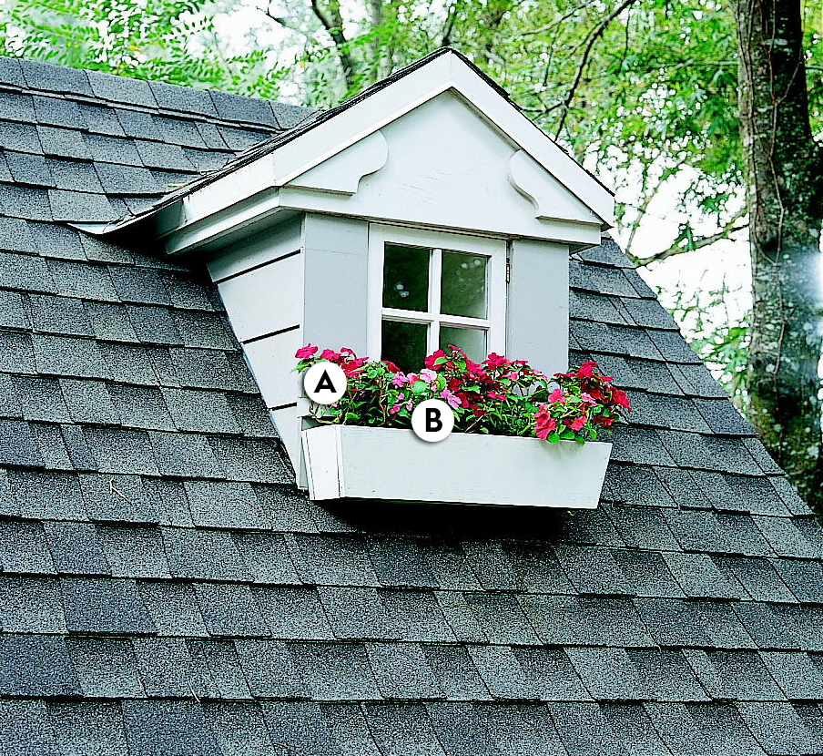 roof window box red & pink Impatiens