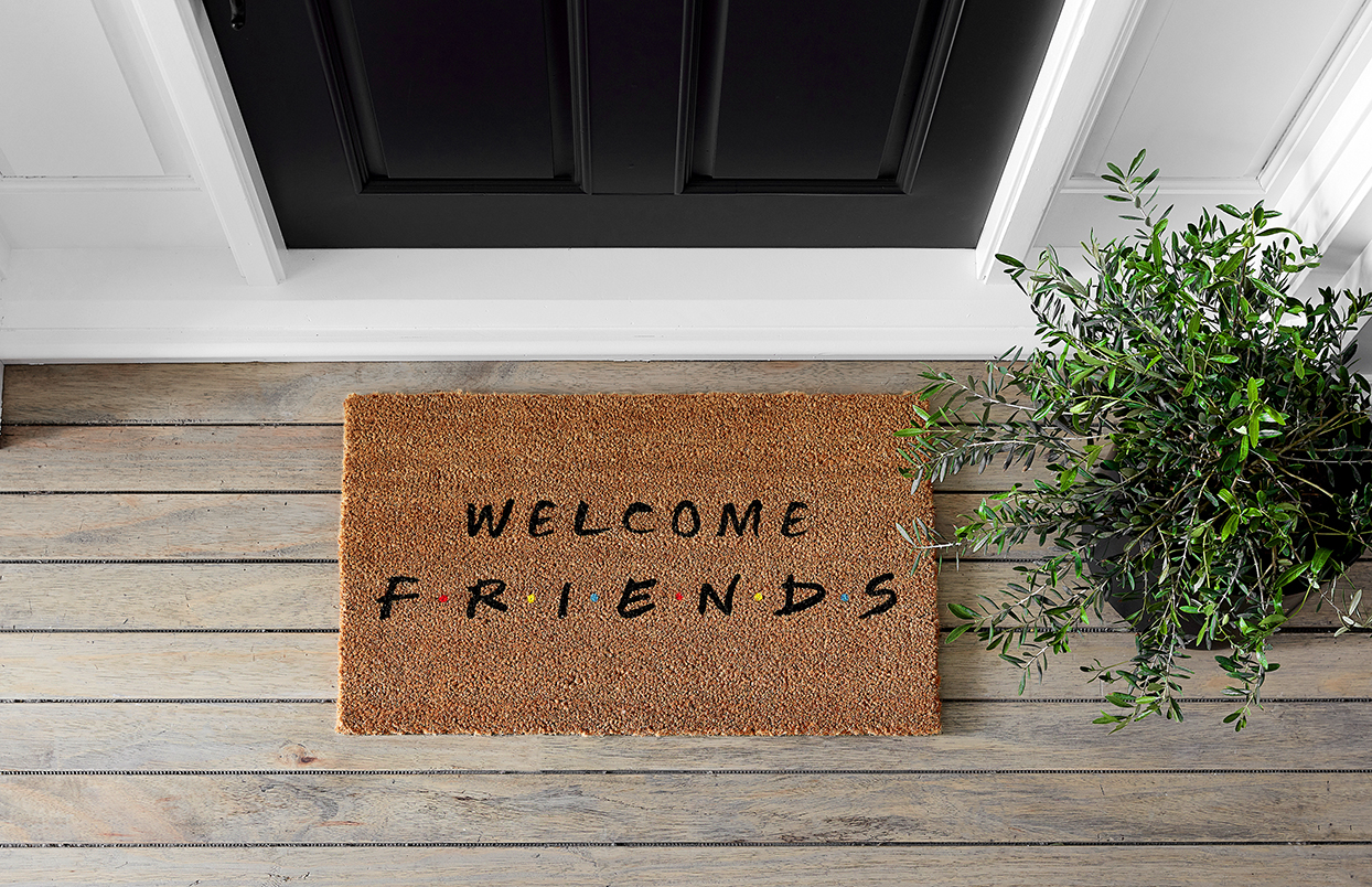 friends themed doormat outside a home