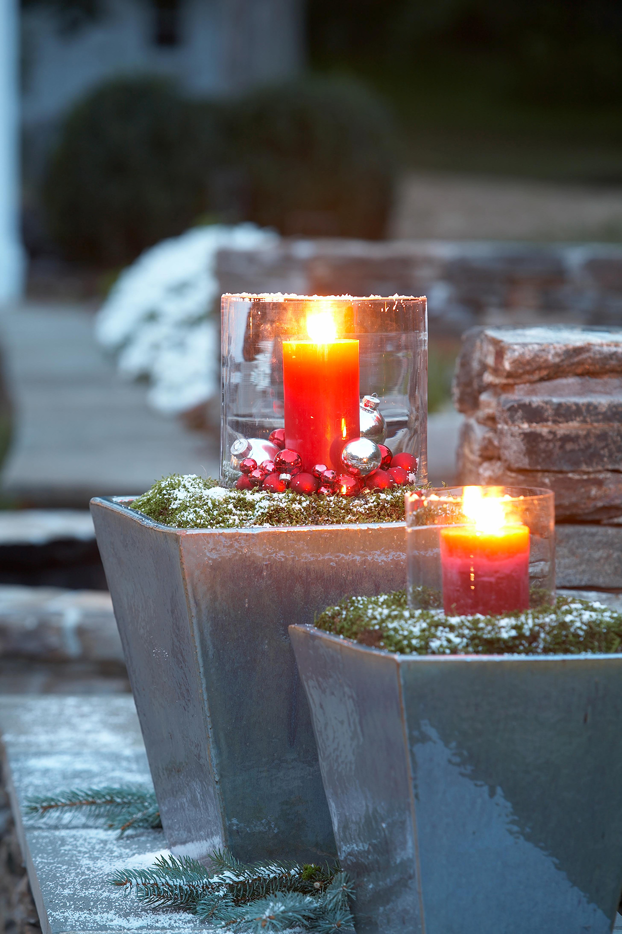 red votive candles winter container