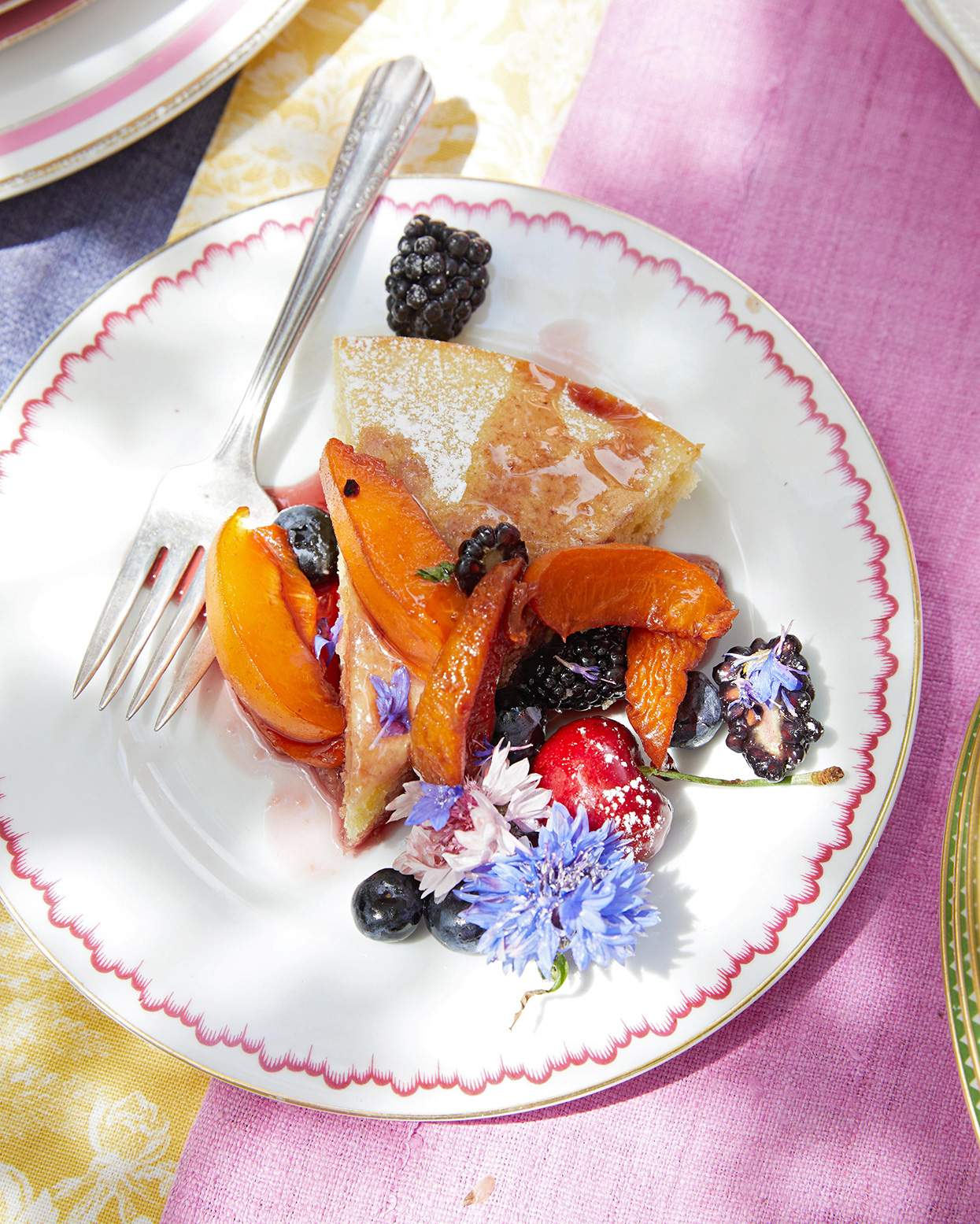 Almond Cake with Fruit & Rose Drizzle