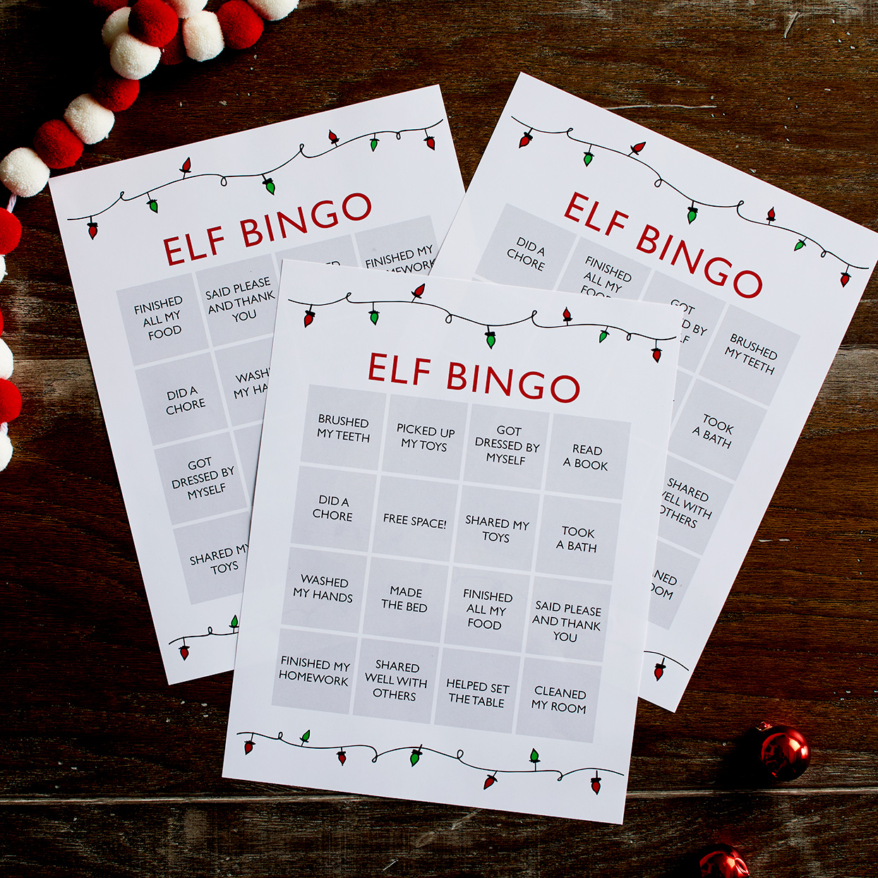 Three Elf Bingo cards