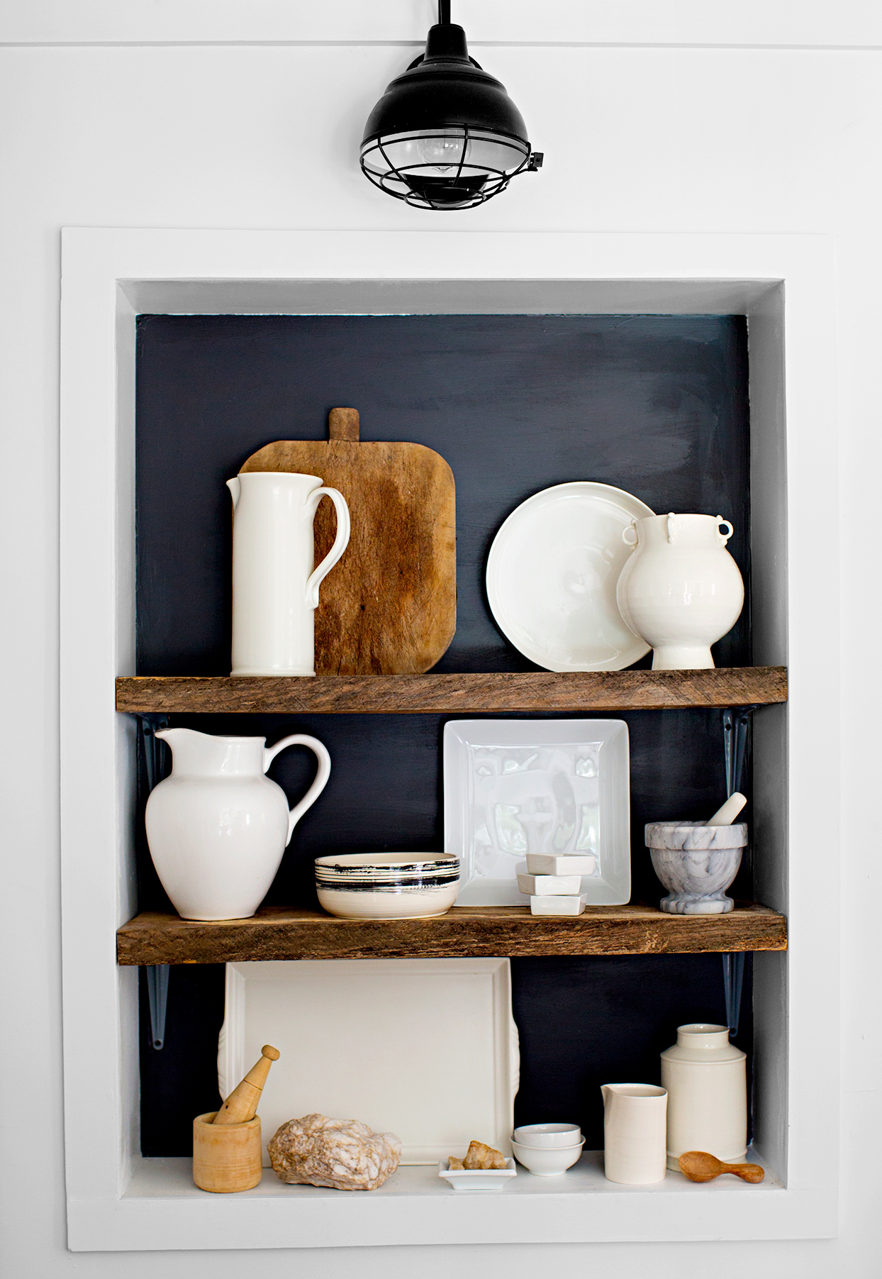 Shelf white and wood dishes