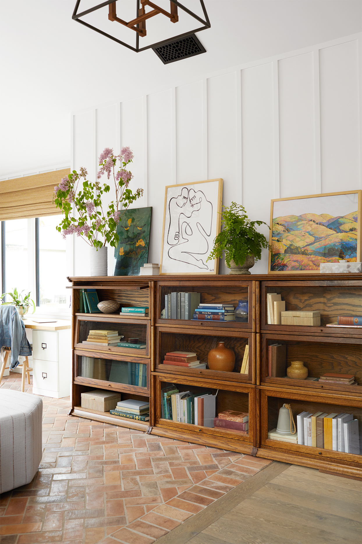 storage shelves with books against wall