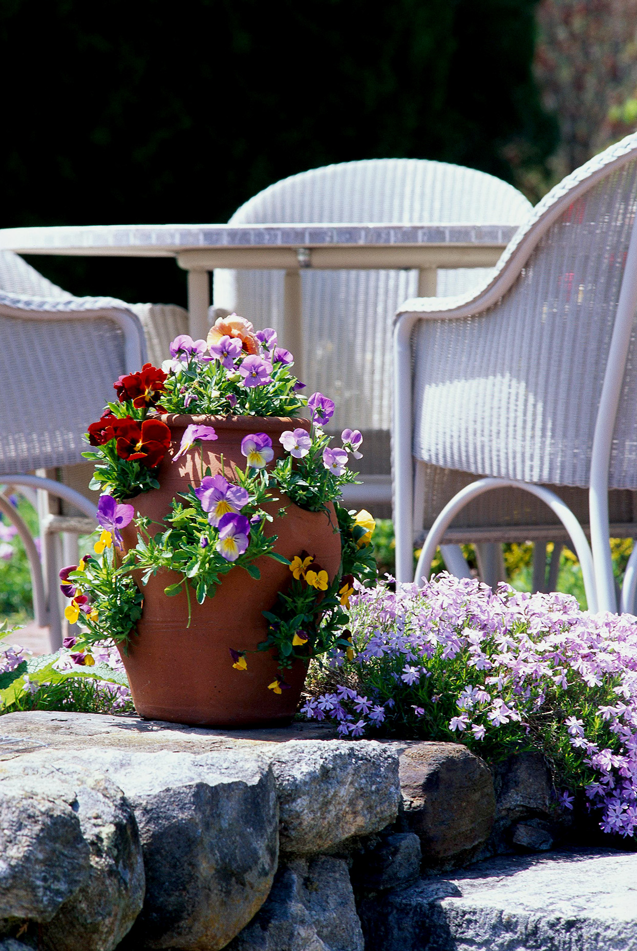 One planter with flower variety white lawn furniture