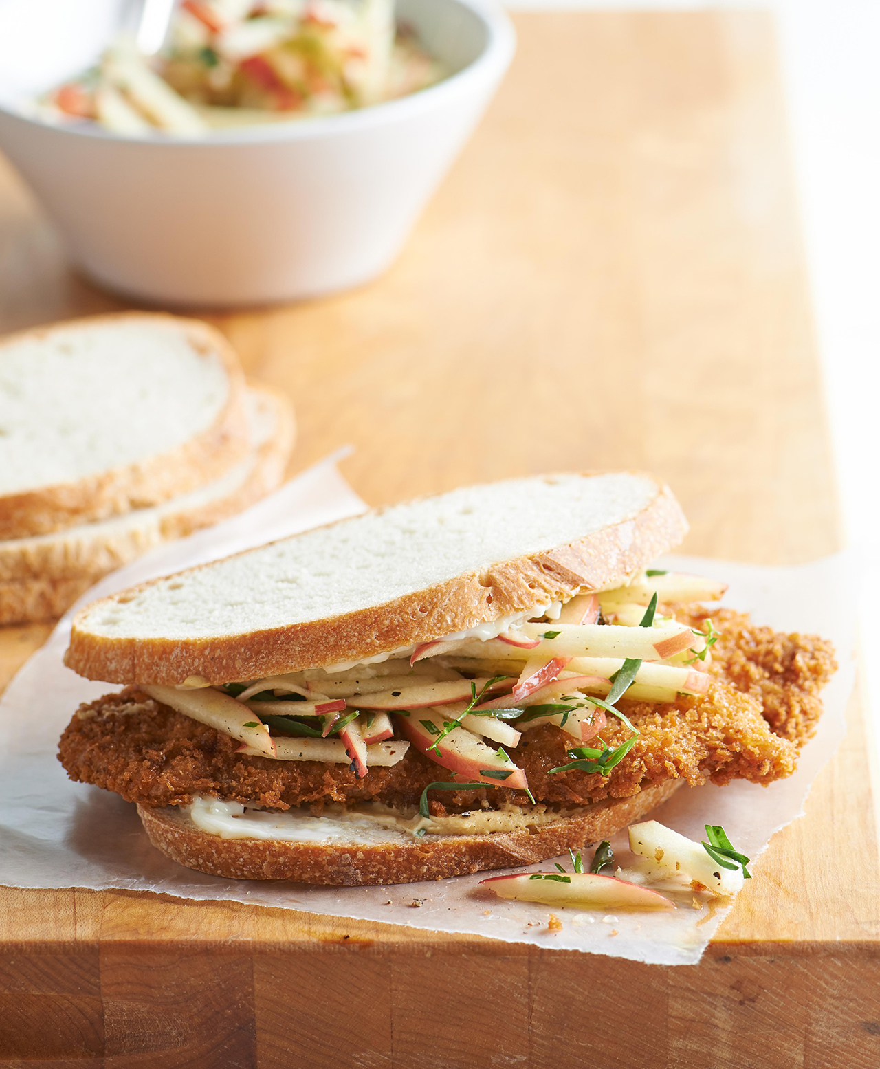 Pork Sandwich with Tarragon-Apple Slaw