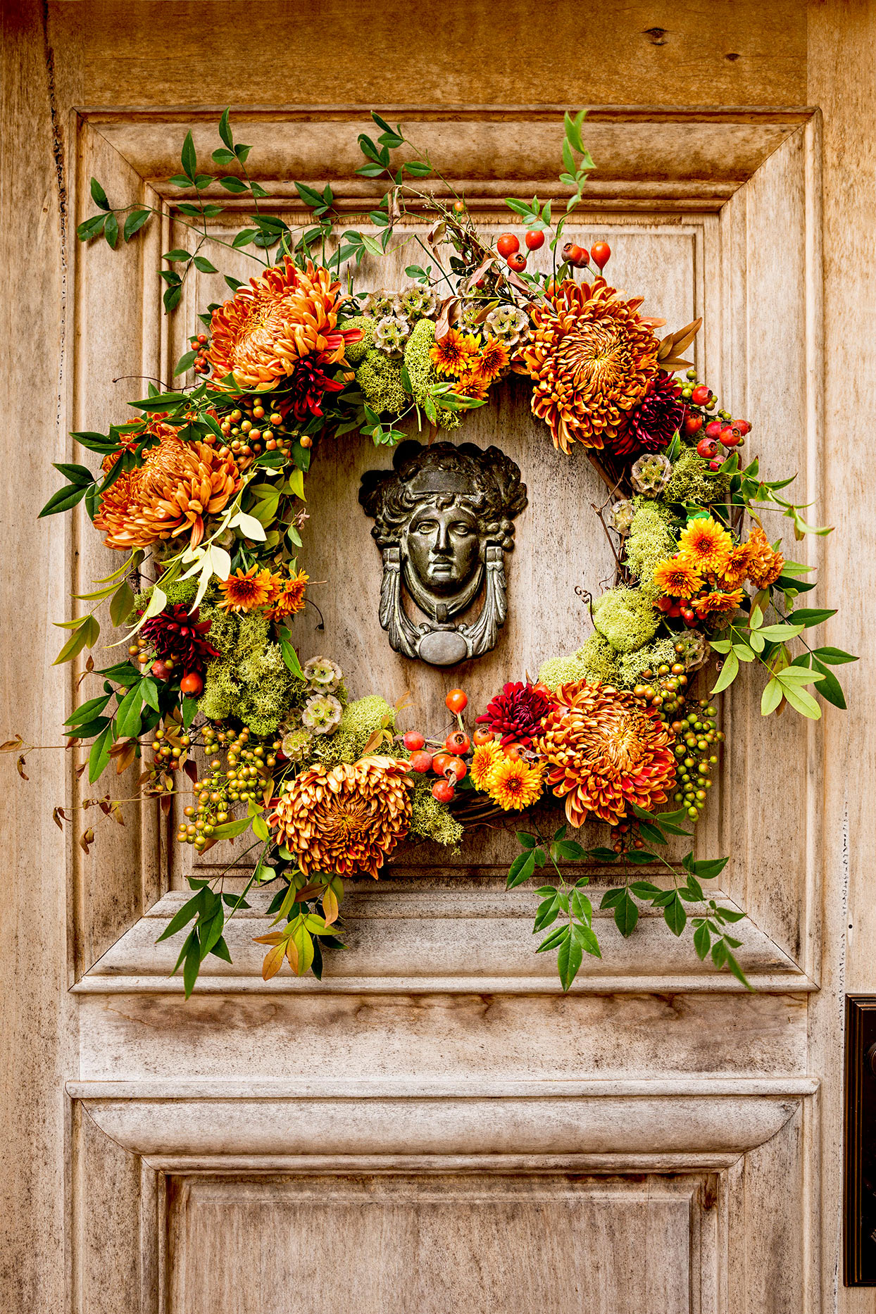 Front door with flower wreath