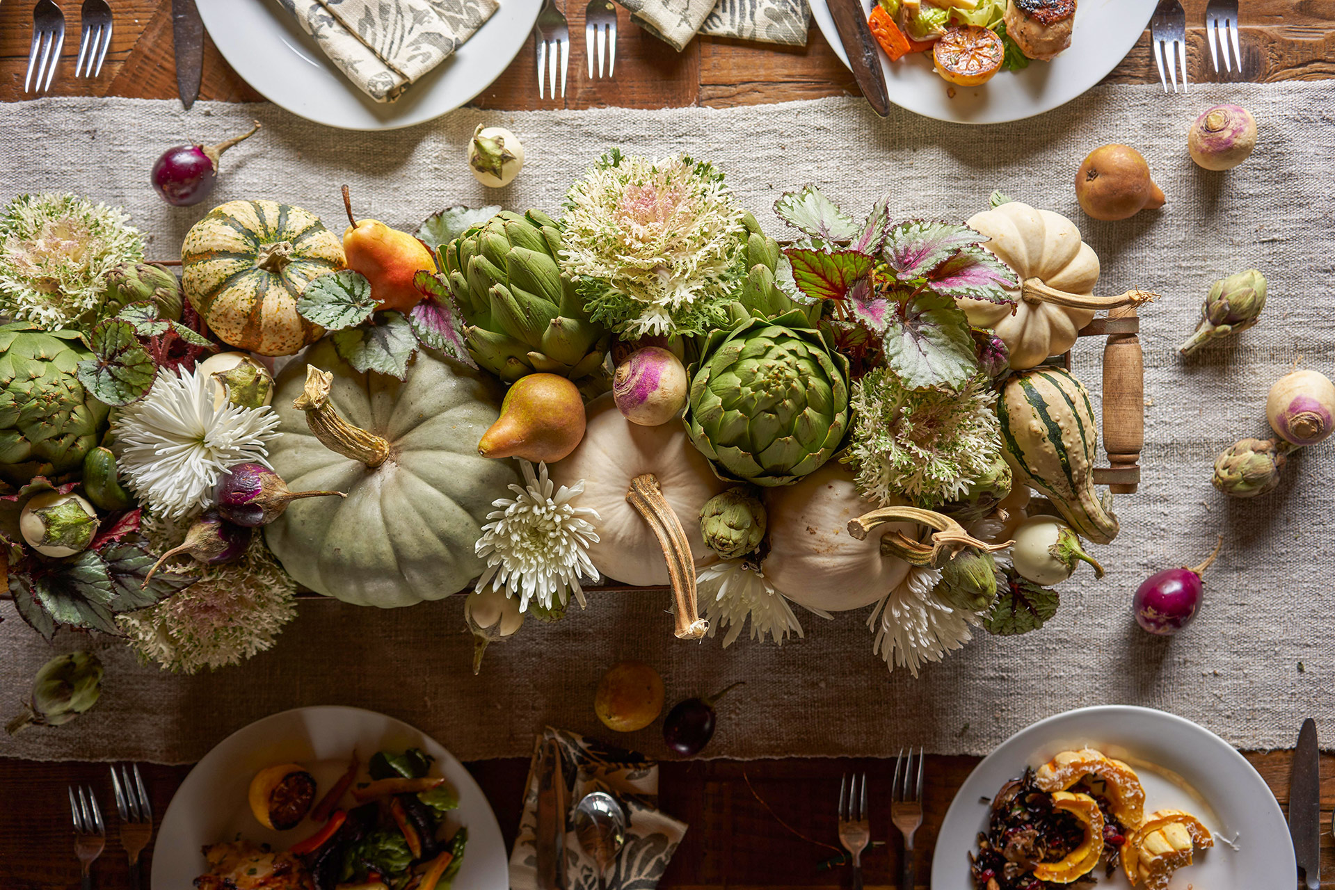 fall floral pumpkin table arrangement