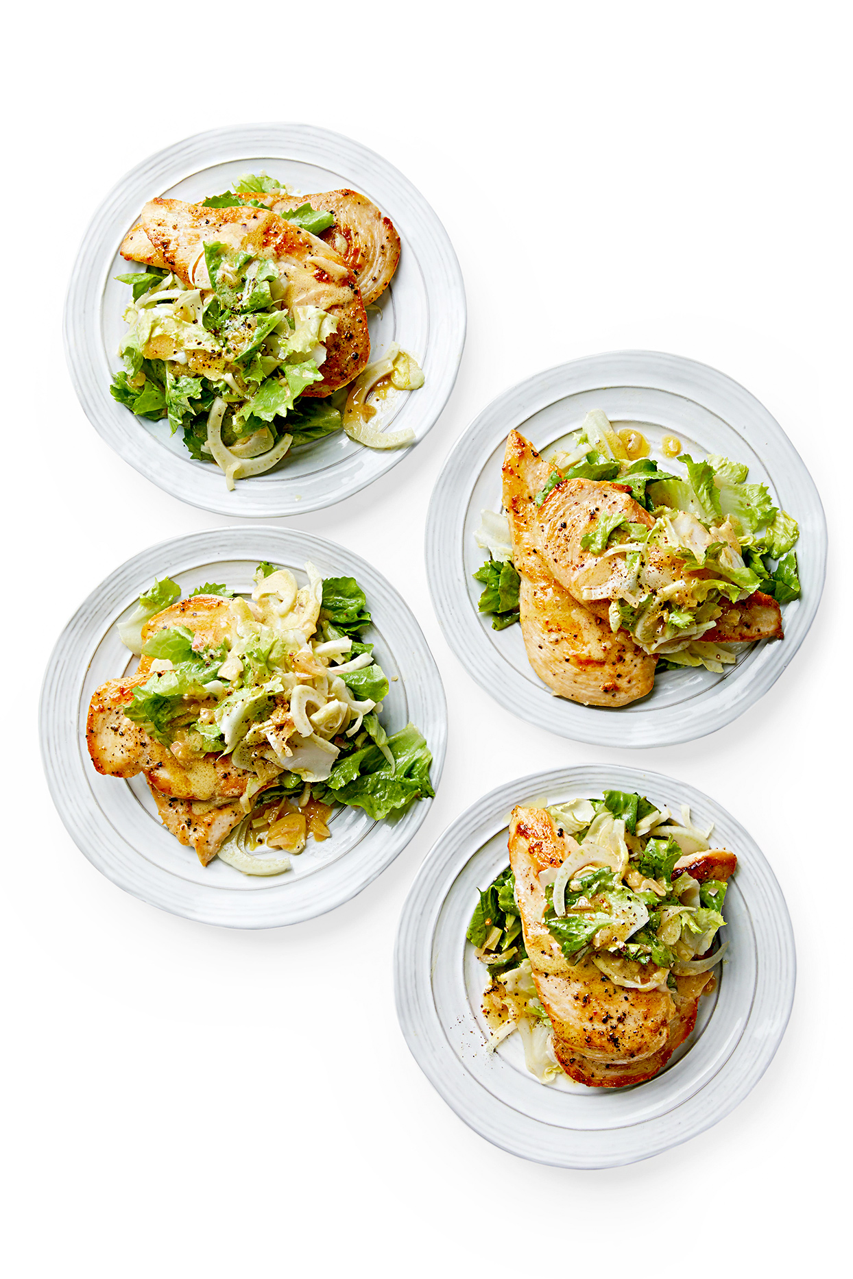 Chicken with Escarole and Warm Mustard Dressing