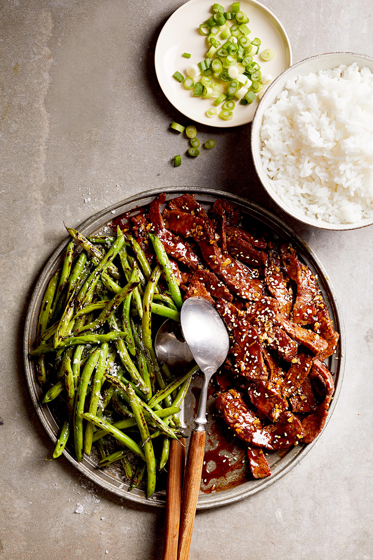 Soy-Glazed Flank Steak with Blistered Green Beans