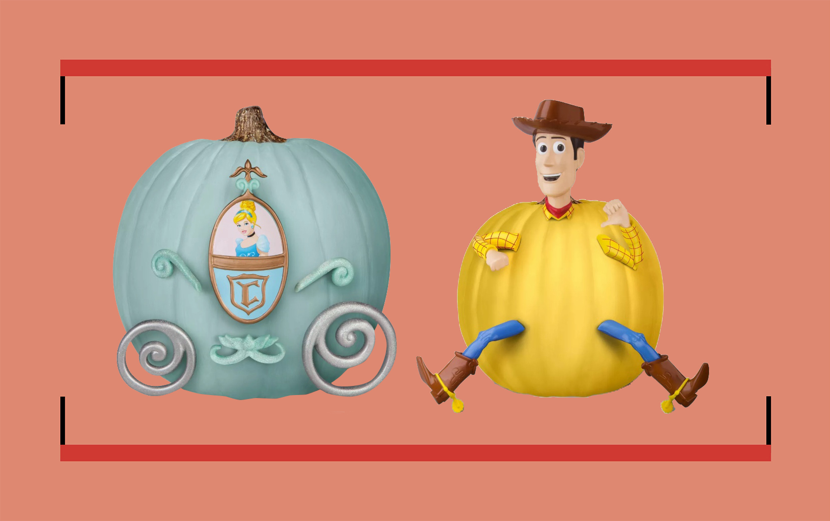 a blue pumpkin decorated like cinderella's pumpkin carriage and a yellow pumpkin decorated like woody from toy story