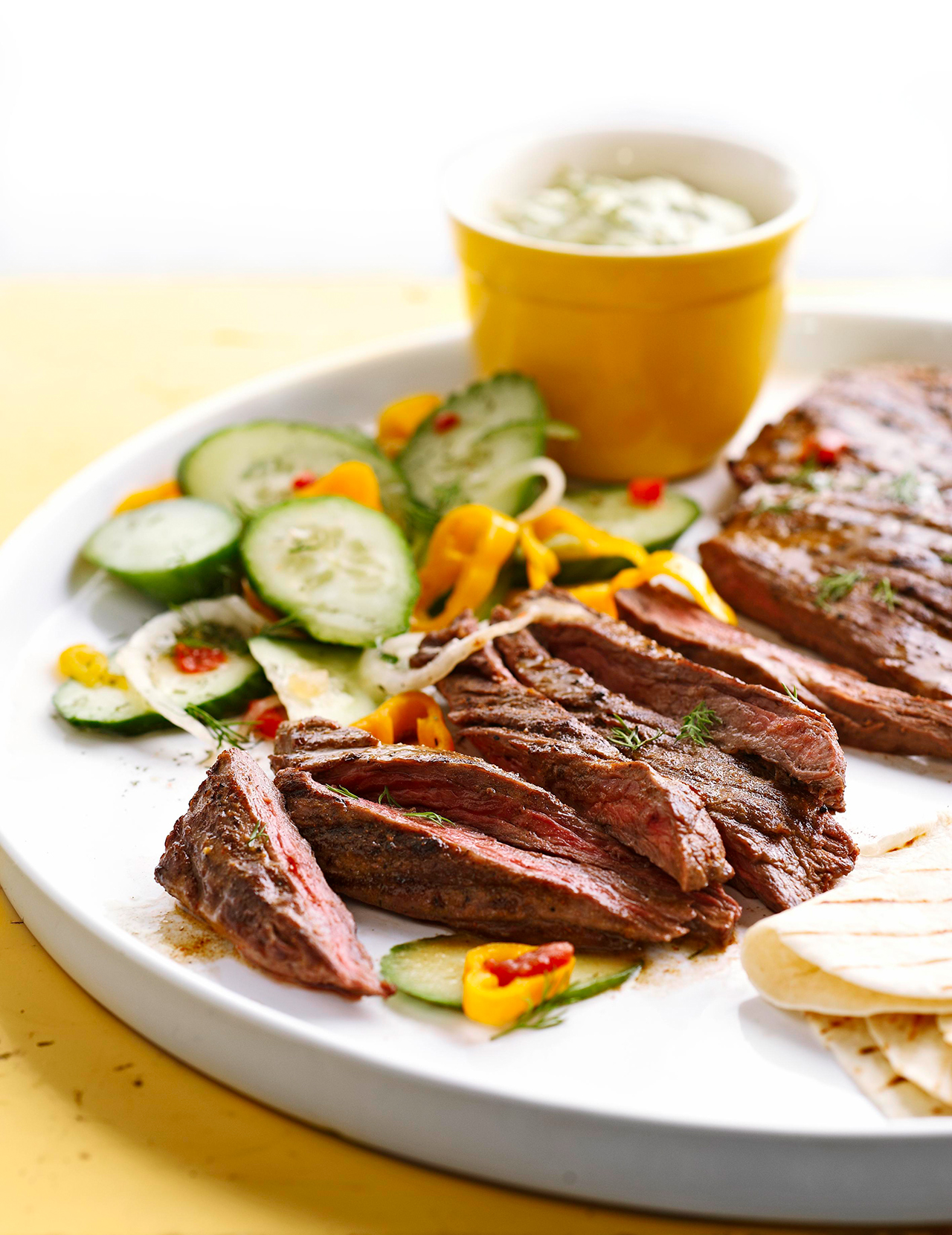 Spicy Skirt Steak with Avocado Dipping Sauce