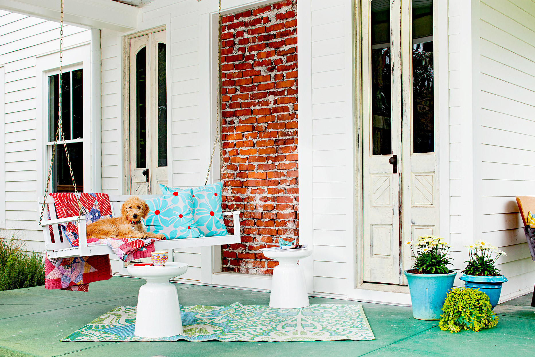 Front porch with porch swing, dog