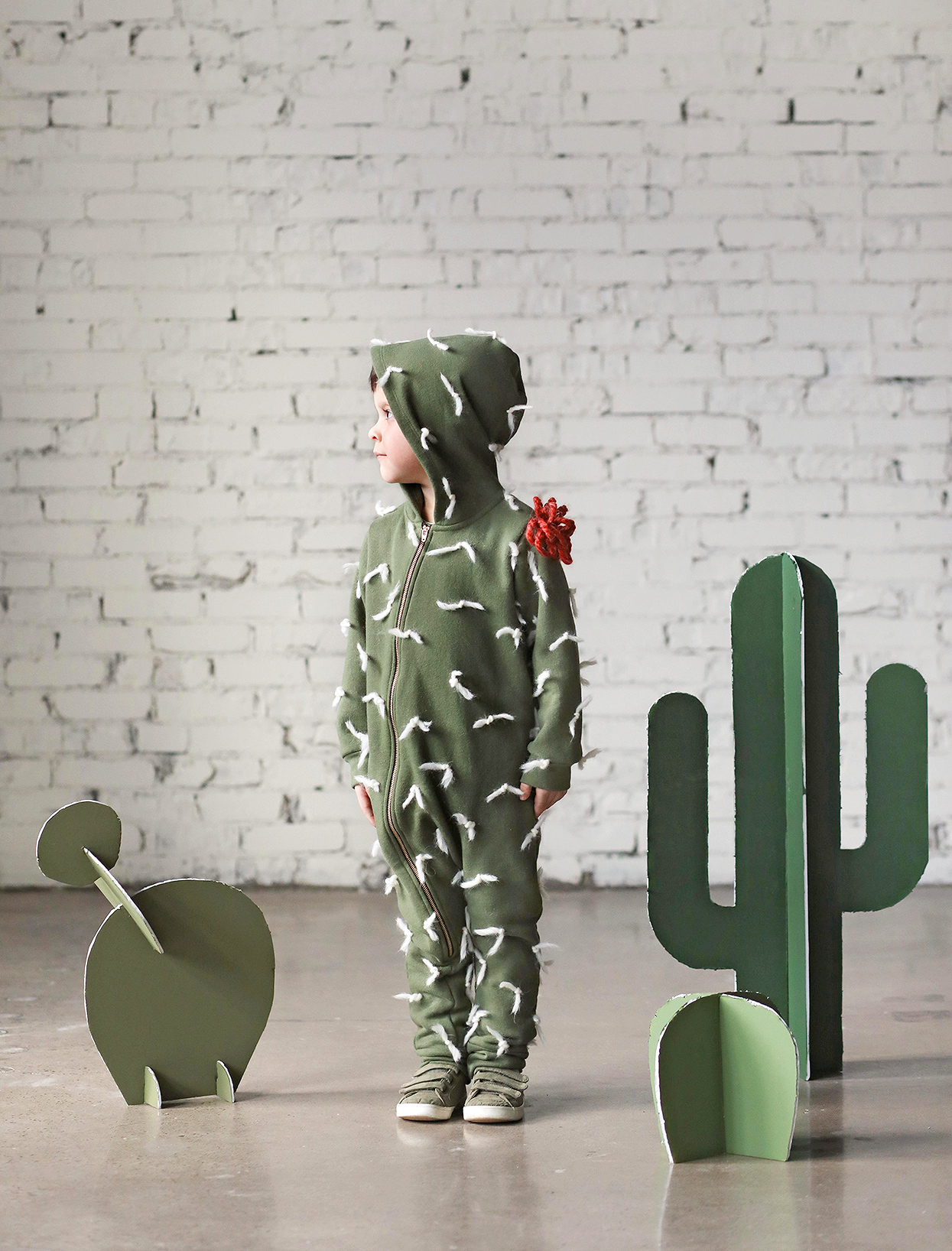 little boy with diy cactus costume and props