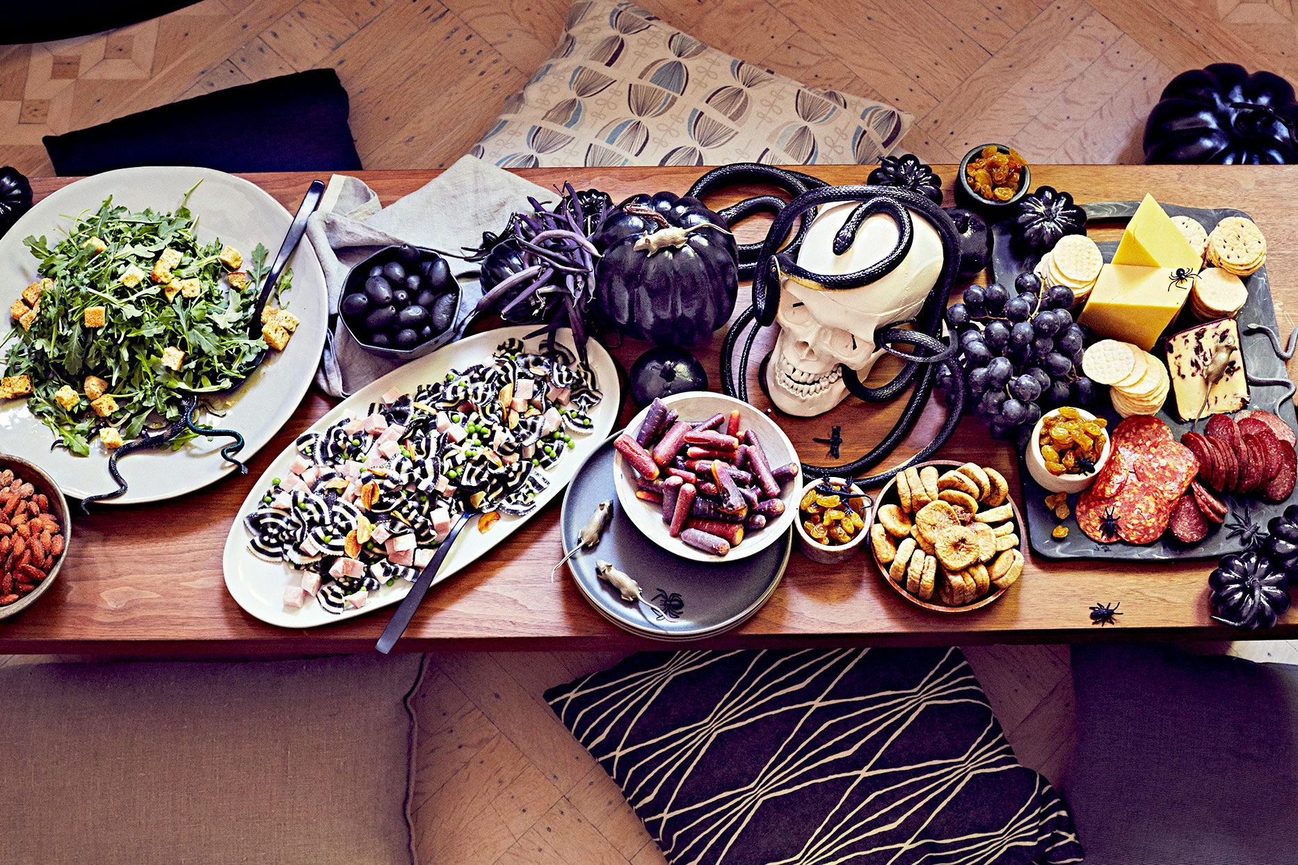 Top view of table with Halloween-themed food