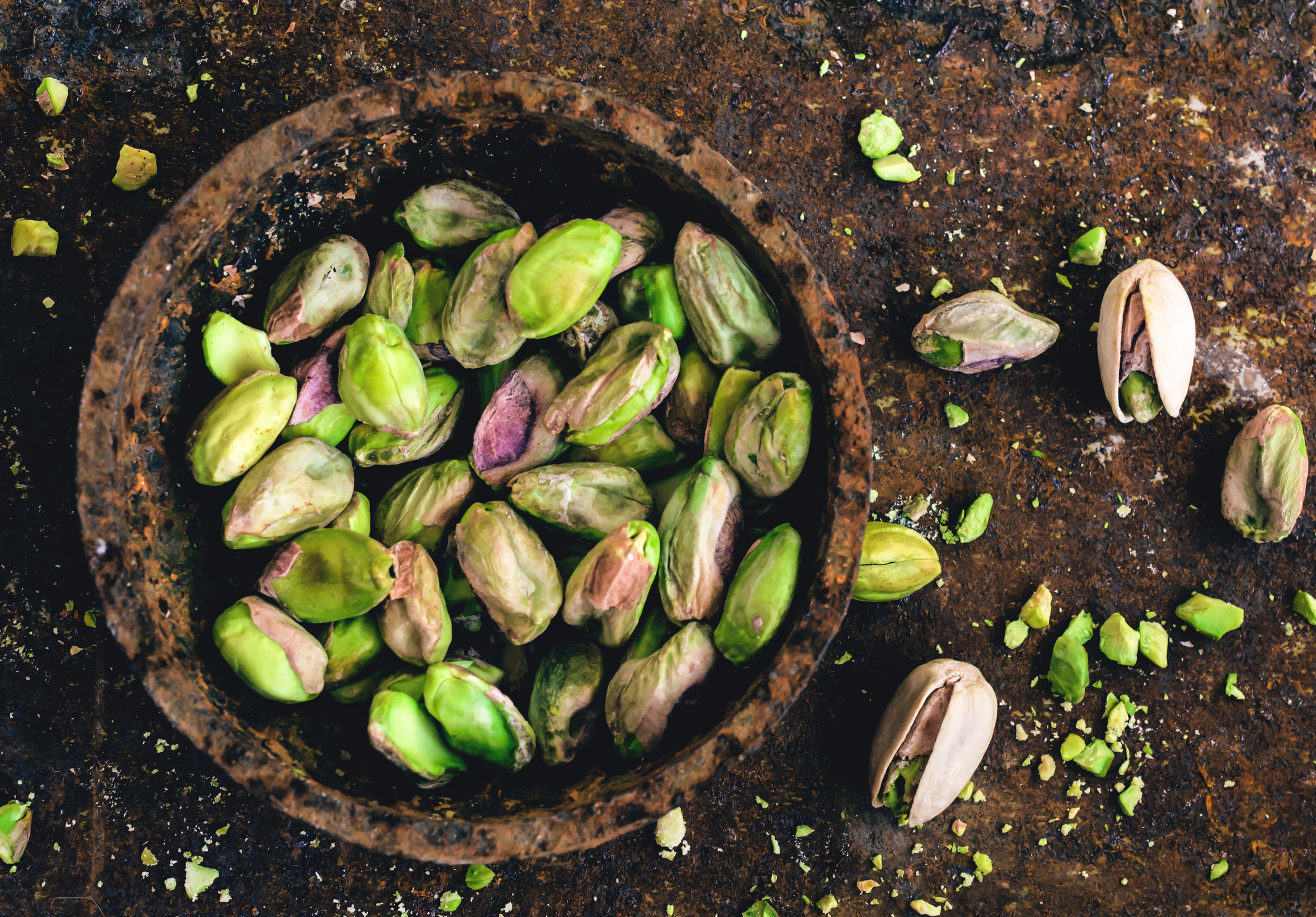 Pistachio nuts, high angle view