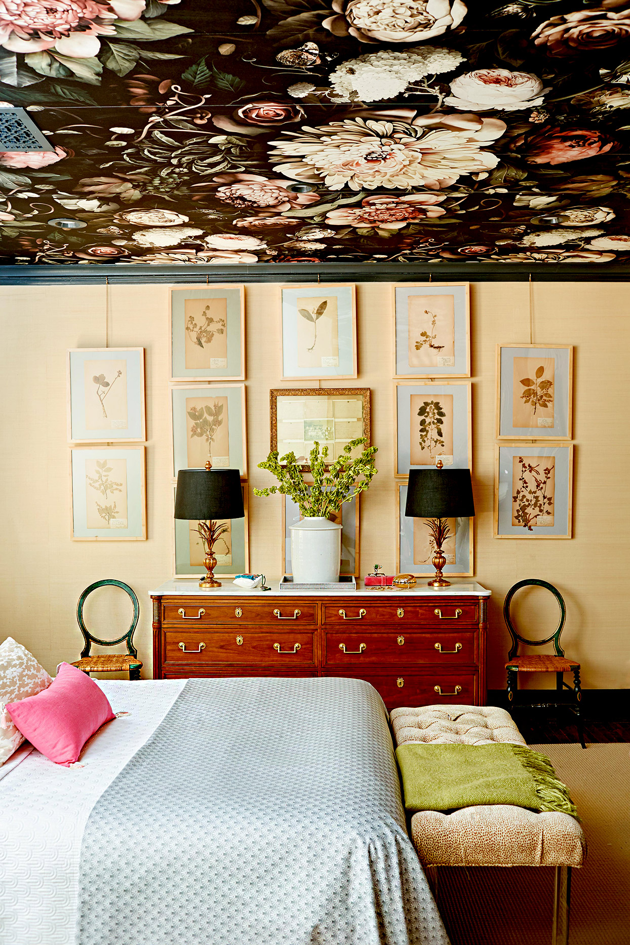 Bedroom with floral ceiling