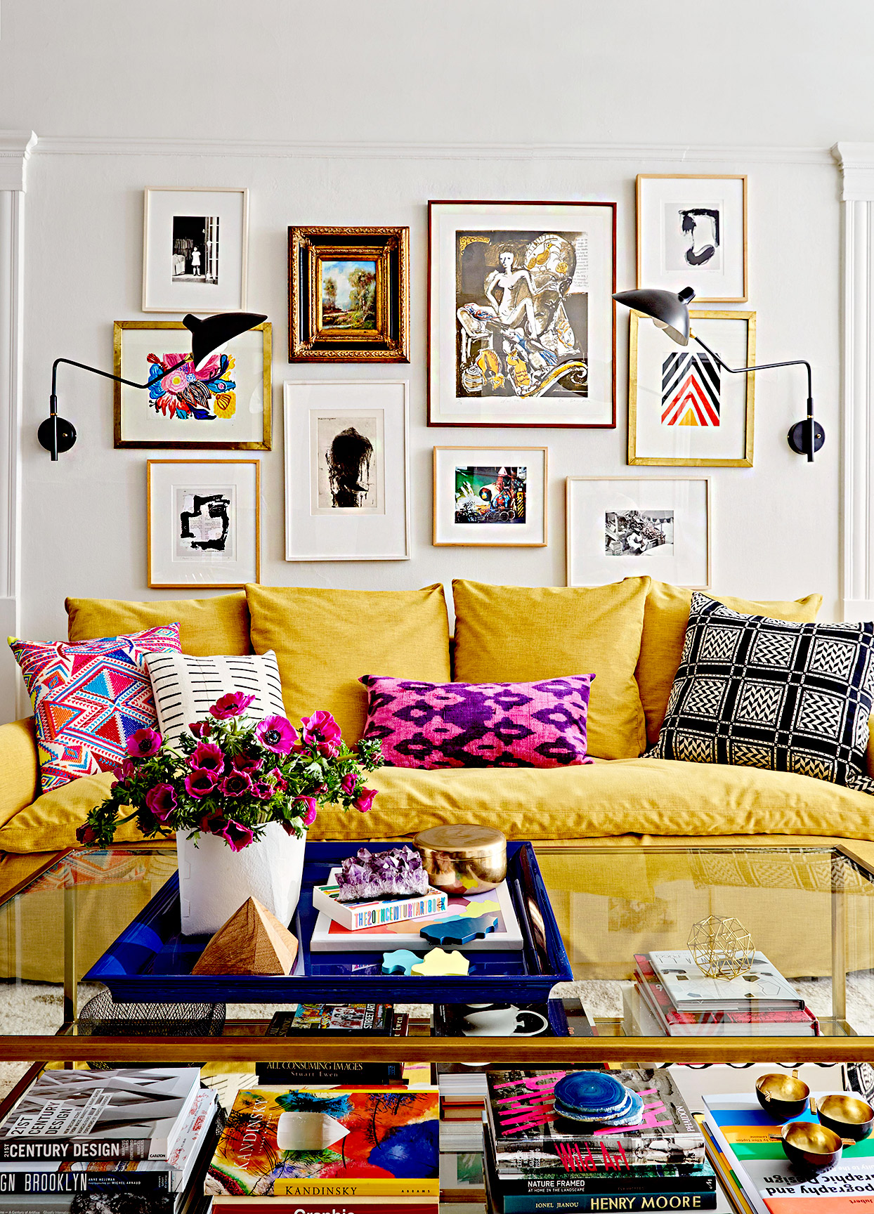 Living room with books and artwork