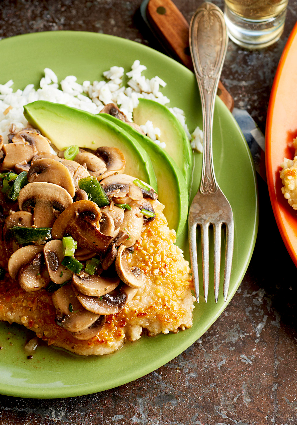 Almond Chicken with Mushroom-Tequila Sauce