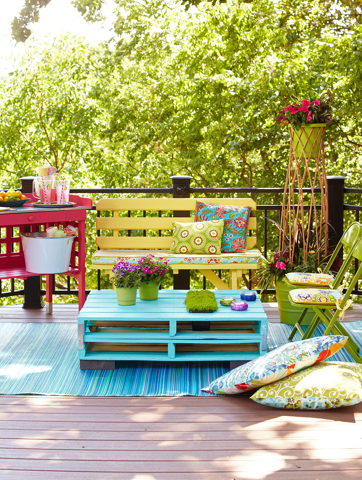 vibrant colored outdoor porch decor