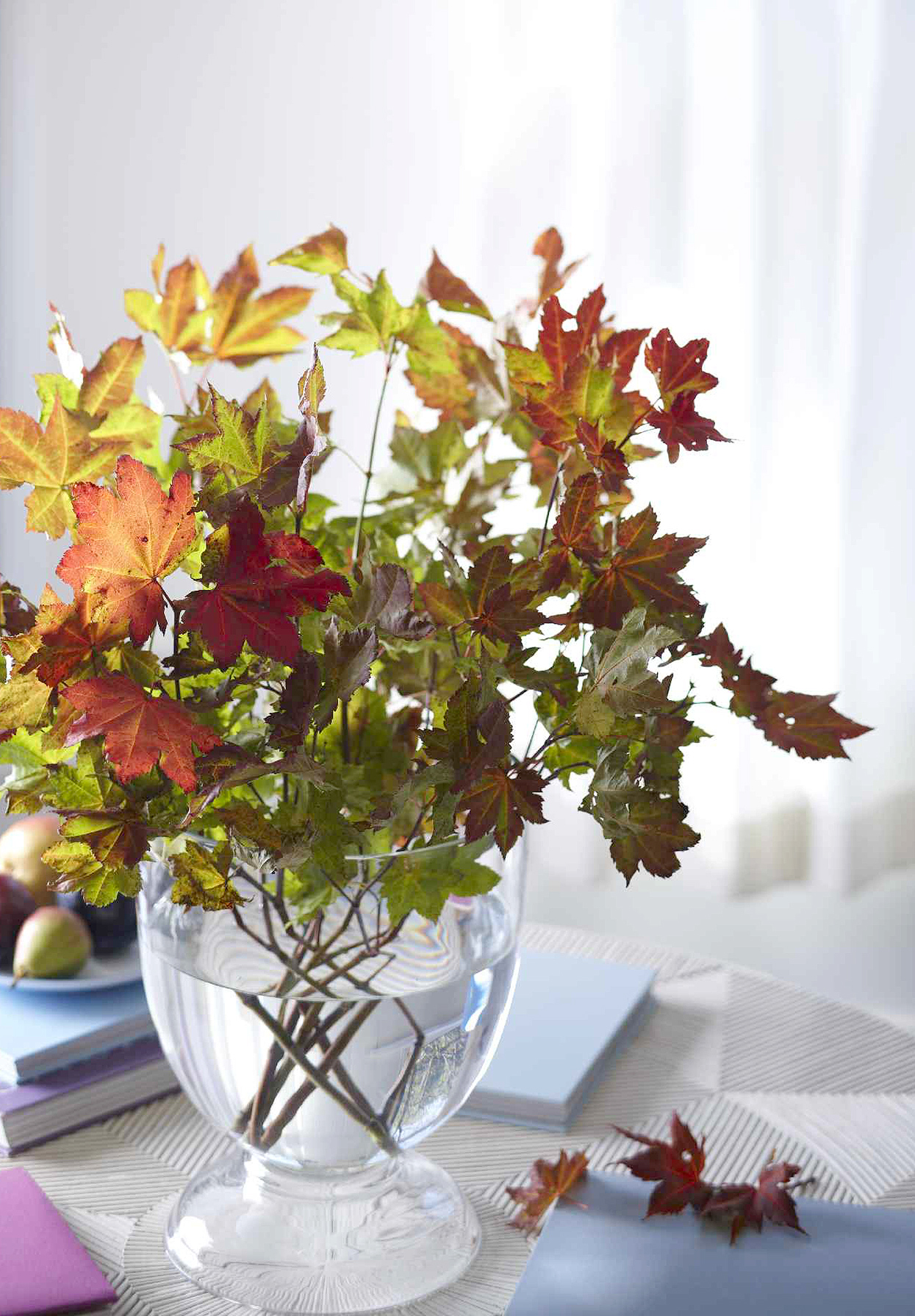 autumnal arrangement with leaves in vase