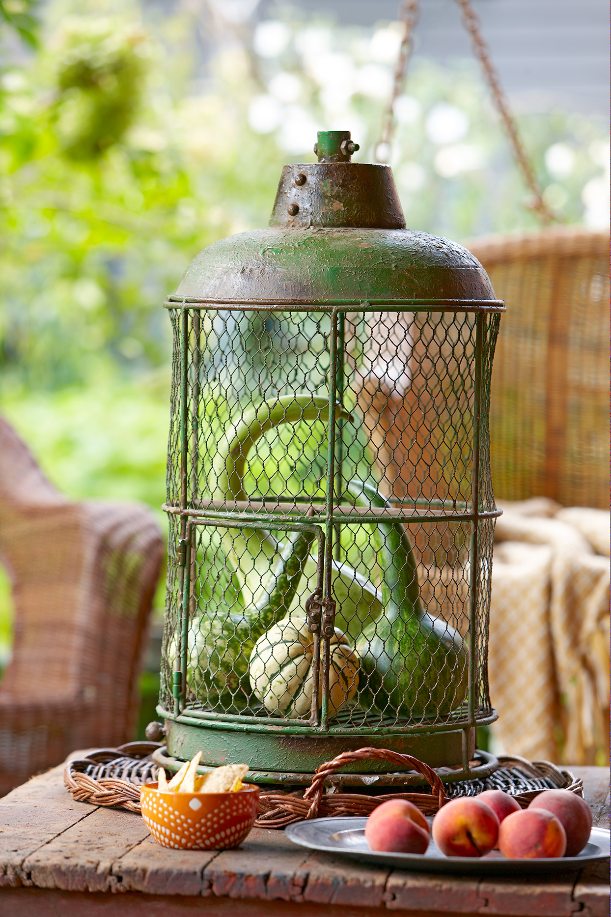 swan neck gourds in wire container